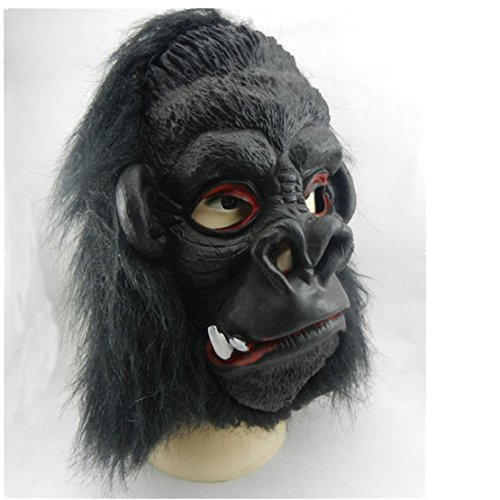 Halloween Masquerade COS Party Carnival Fancy latex Animal Full head mask,Horror Gorilla (2 teeth)