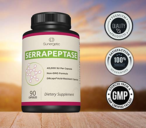 Premium Serrapeptase Enzyme Supplement - Helps Support Sinus Health -  Powerful Serrapeptase Enzymes Formula - 40,000 SU Per Capsule- 90 Enteric  Coated