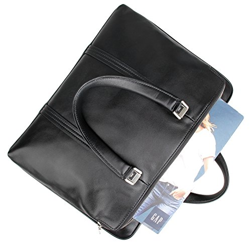LXFF Men's Calfskin Leather Business Briefcase Bag 14 or 15 Inch Laptop Tote Bag Black by LXFF (Image #4)