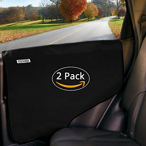 Pet Car Door Covers for Dogs – Waterproof Interior Protectors Window Panel Guards Shields from Doggie Scratching Drooling Vehicles Trucks SUV Inside Front Seat Side Safety Cloth – (Pack of 2) PetEvo