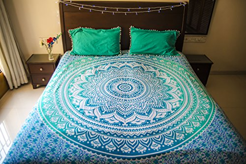 Hippie Mandala Tapestry Bedding with Pillow Covers, Bohemian Wall Hanging, Hippy Blanket or Picnic Beach Throw, Indian Ombre Mandala Bedspread for Bedroom Decor, Queen Size Tealtastic Boho Tapestry