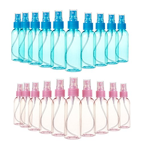 Juvale Fine Mist Mini Spray Bottles with Atomizer Pumps- for Essential Oils, Travel, Perfumes, More - Empty Tinted Blue and Pink Plastic Bottles with Pump Heads - Refillable & Reusable - 20-Pack, 80ml