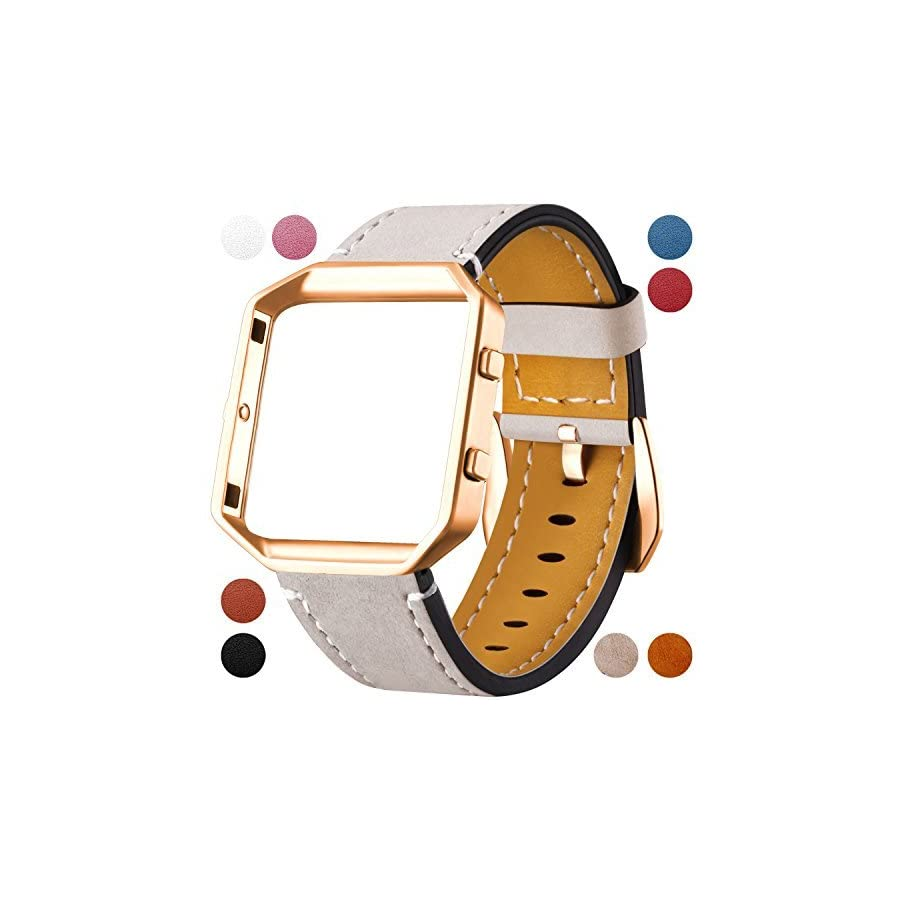 Dizywiee Fitbit Blaze Leather Bands Metal Frame, Classic Genuine Leather Wristband Fitbit Blaze Replacement Fitness Strap Women Men