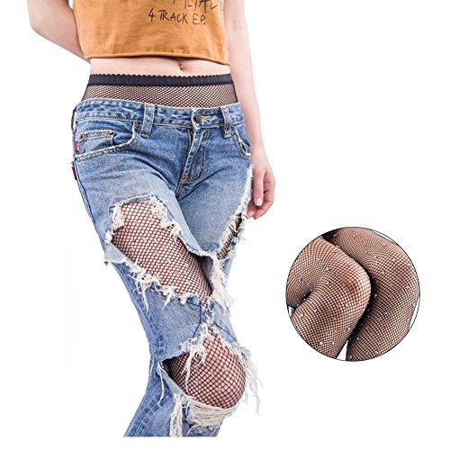 FANCAME Sexy Fishnet Stockings Women's High Waist Sparkle Rhinestone Tight Pantyhose (Rhinestone Black Fishnet Stockings) -