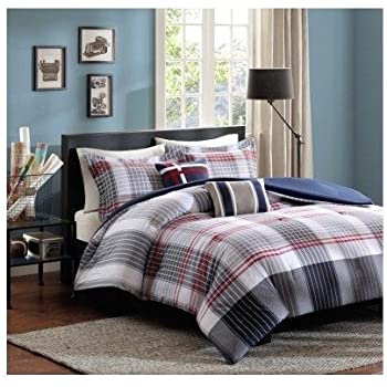 Amazon Com Red Blue Grey Plaid Comforter Boys Teen