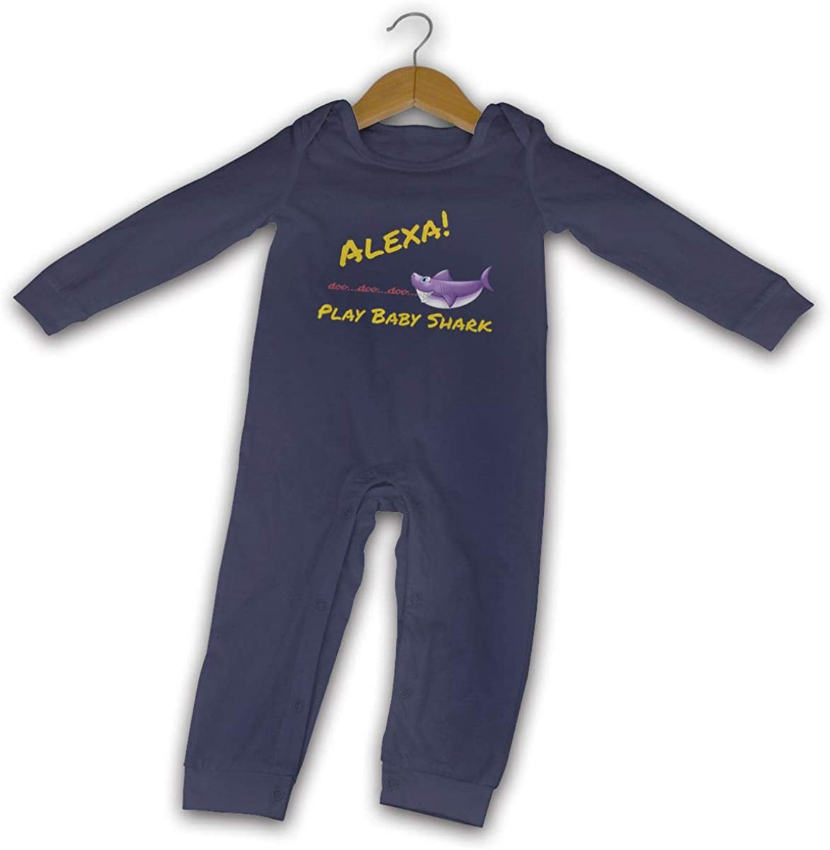 FengZe Baby Boy Girl O-Neck Long-Sleeve Jersey Bodysuit Alexa Play Baby Shark Kids T Shirts Funny Crawling Clothes Black