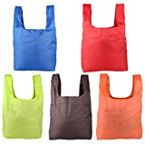 JPNK Reusable, Washable, Durable and Lightweight Grocery Bags Nylon Tote Set of 5
