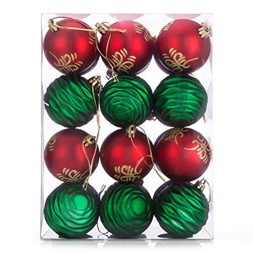 SANNO 24ct Christmas Balls Shatterproof Painting Hangings Festive Decoration Party Tree Pendants Ornaments for Garden, Party - Green/Red, 2.36