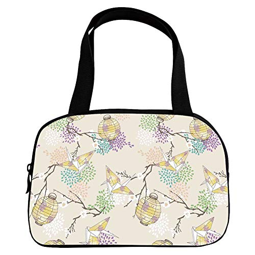 Personalized Customization Small Handbag Pink,Lantern,Colorful Origami Cranes Paper Lanterns with Branches and Flowers Culture Decorative,Lilac Pink Beige Yellow,for Girls,Personalized Design.6.3