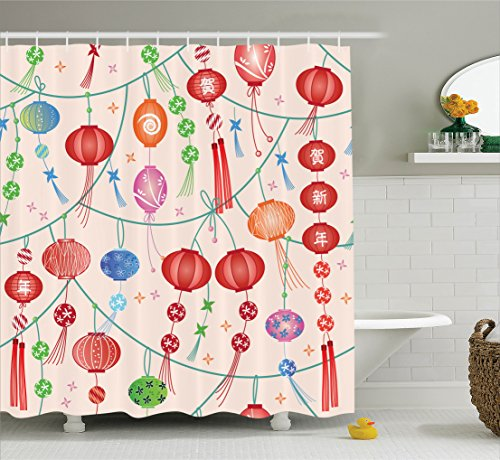 Ambesonne Lantern Decor Collection, Colorful New Year Decorative Chinese Lanterns Celebration Holiday Artwork, Polyester Fabric Bathroom Shower Curtain Set with Hooks, Orange Red -