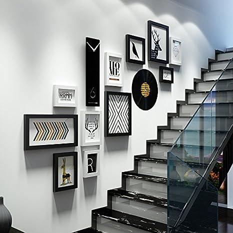 Creativos Vertical, las Escaleras fotográfico Relojes de Pared Combina fotos en pared Check de Pasillo hintergrunddekoration Hyundai de foto paredes negras y blancas.11 Caja + Reloj de pared +: Amazon.es: Hogar