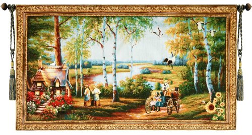 - Beautiful Old World Cottage and Stagecoach Fine Tapestry Jacquard Woven Wall Hanging Art Decor