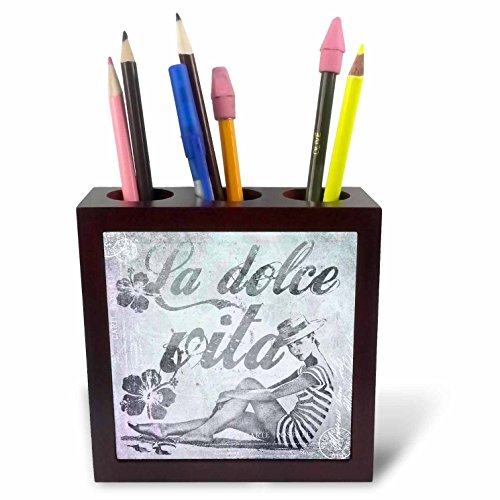 Art Illustration - Retro Woman In Swimsuit And Text La Dolce Vita In Grey - 5 inch tile pen holder (ph_268462_1) ()