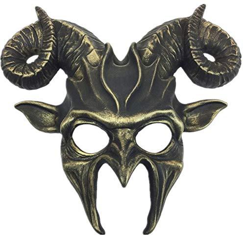 Storm Buy] Ram Goat Series Face Masquerade Animal Devil Mask Costume Halloween Horror Demon (Gold) -