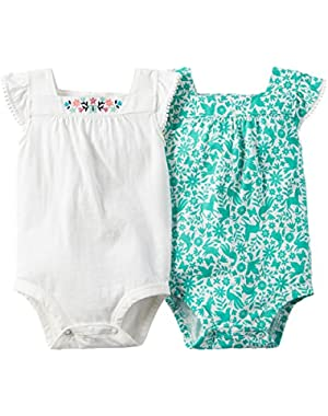 Baby Girls White and Mint Print 2-pack Bodysuits