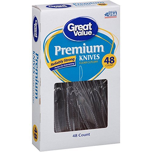 Great Value Pack (Reliably Strong Great Value Premium Disposable Clear Plastic Knives, 48 ct)