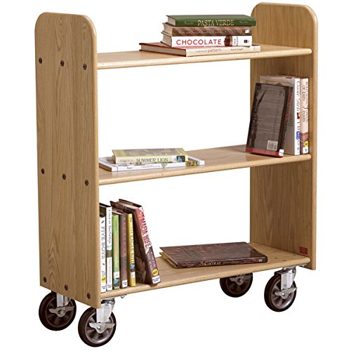 Diversified Woodcraft BT213 Deep Bronze Oak Finish Book Truck with 3 Flat Shelves, 40-1/2'' Width x 45'' Height x 14'' Depth by Diversified Woodcrafts