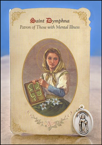 6pc Patron Saints of Healing St. Dymphna (Mental Illness) Healing Holy Card with Medal by Christian Brands