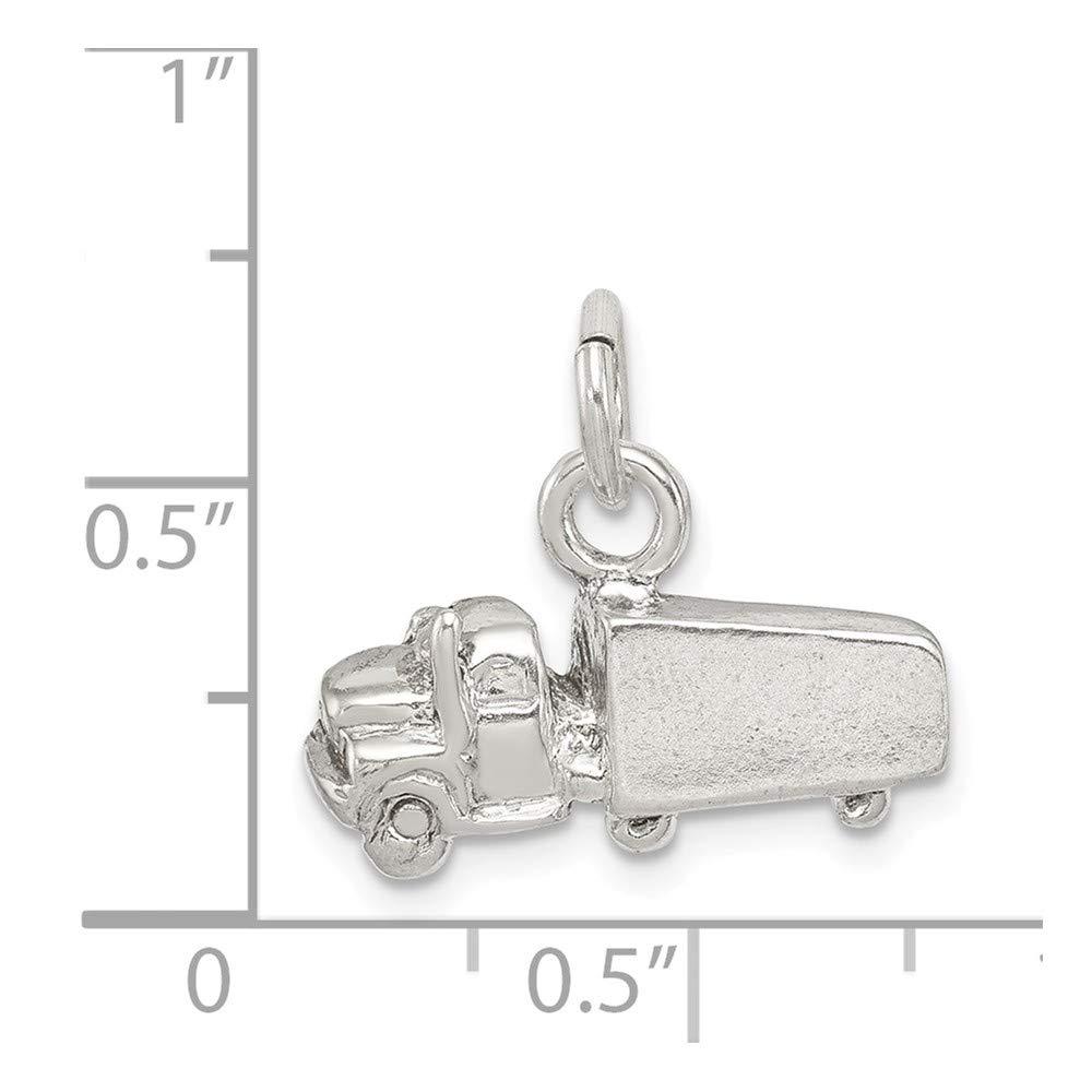 0.43 in x 0.71 in Jewel Tie Sterling Silver Semi Trailer Charm