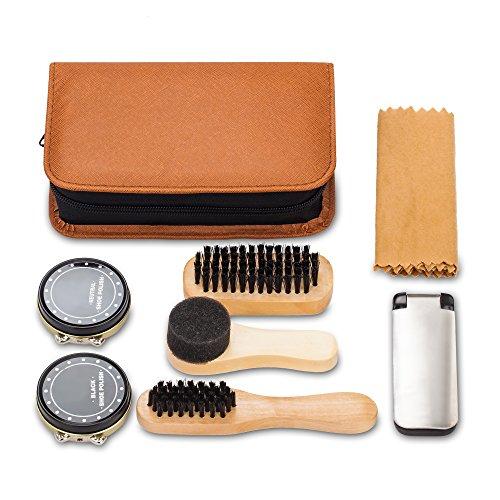 Shoe Shine Kit with PU Leather Sleek Elegant Case, 7-Piece Travel Shoe Shine Brush kit by make it funwan (Image #1)