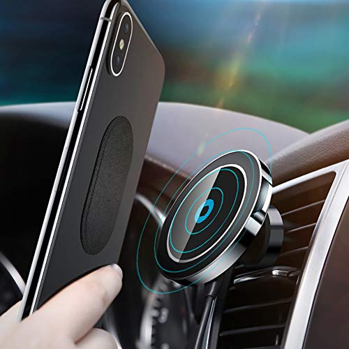 - Magnetic Wireless Car Air Vent Charger Mount Holder Bracket Quick Charge for iPhone XS Max XR 8P Android - Black
