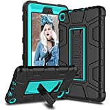 Venoro Case for All-New Amazon Fire 7 Tablet, Shockproof Armor Defender Protective Case Cover with Kickstand for Amazon Kindle Fire 7 (7th Generation - 2017 Release Only) (Black/Blue)