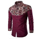 Appliances Men Best Deals - PHOTNO Men Fashion Printing Men's Long-sleeved T-shirt (XXL, Wine Red)