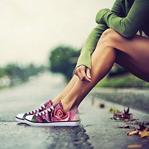 För U Designar Snygga Kvinna Avslappnad Spets-up Låg Bästa Komfort Duk Mode Sneaker Röd Ros 1