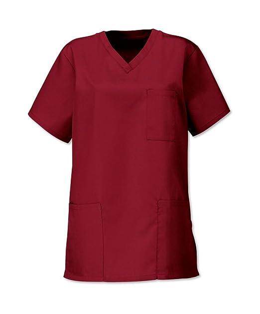 Pijama hospital color burdeos, unisex Rojo granate XS