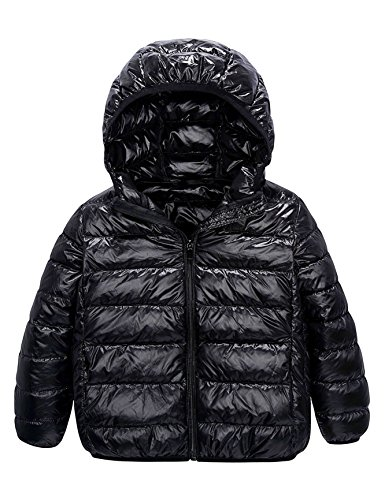 Kids' Down Jacket Straight Line Lightweight Rain-Proof Jacket with Hood and Pockets (2-3T, Black)