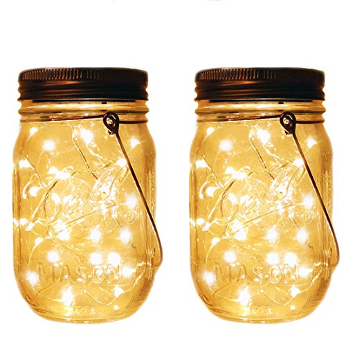 Mason Jar Tiki Solar Lights,LED Fairy Firefly Jar Lights for Patio Garden Yard Mason Jar Wedding Table Decor Solar Lantern Lights (2 Pack 20-LEDs (Mason Jars and Hangers Included))