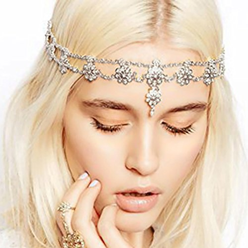 Headbands Head Chain Hair Jewelry for Women and Girls Antique Rhinestone Crystal Silver-tone Fashion Prom Indian Bridal Wedding Gypsy Festival Boho Hair Bands Accessories (Headchain - Silver)
