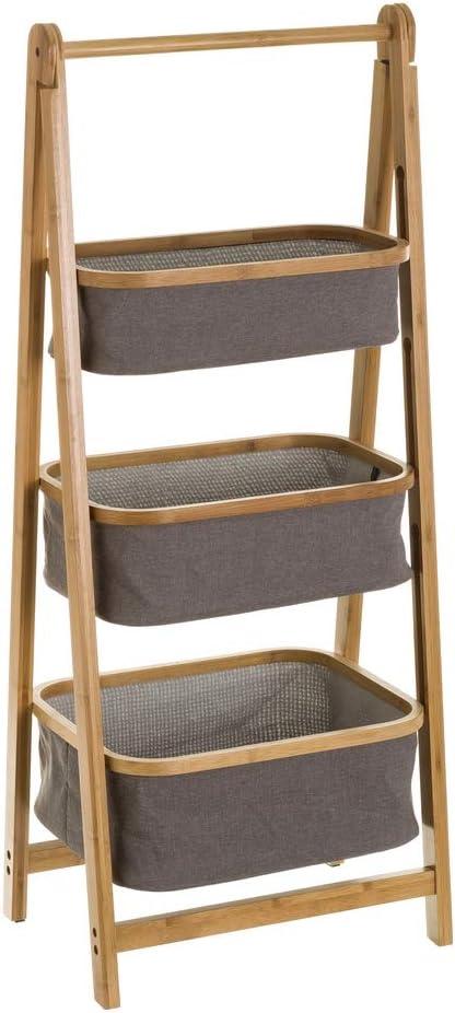 Estantería con 3 cestas de Escalera de bambú y Tela nórdica Gris de 45x33x108 cm - LOLAhome: Amazon.es: Hogar