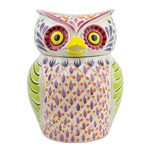 Majolica Jar - NOVICA 258719 Colorful Owl' Majolica Ceramic Cookie jar