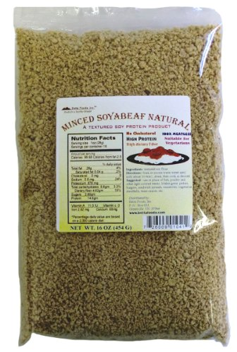 Betta Foods Minced Soyabeaf Natural (Unflavored TVP), 16-Ounce Bag