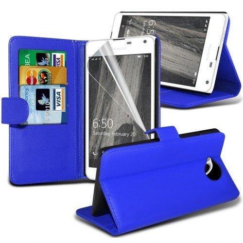 Microsoft Lumia 650 Cubierta del caso con cuero (Azul) Plus de regalo libre, Protector de pantalla y un lápiz óptico, Solicitar ahora mejor caja del teléfono Valorado en Amazon! By FinestPhoneCases