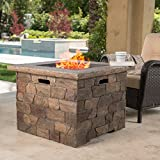 GDF Studio 300715 Stonecrest Outdoor Propane (Gas) Fire Pit 40,000BTU (Table)(Natural Stone/Square) For Sale