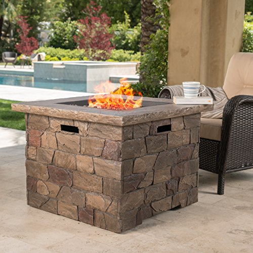 GDF Studio 300715 Stonecrest Outdoor Propane (Gas) Fire Pit 40,000BTU (Table)(Natural Stone/Square)