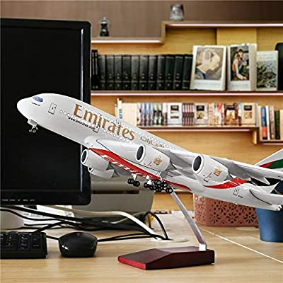 "24-Hours 18""1:160 Scale Assembled Airplane Model Kits for Adults Emirates A380 with LED Light(Touch or Sound Control) Diecast Plane for Decoration or Gift"