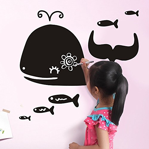 3d wallpaper teaching training blackboard stickers self-adhesive erasable wall stickers children's room graffiti wall film removable wall Buy Two Get One Free ( PATTERN : Whale ) (Yo Whale)