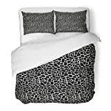 Emvency Bedding Duvet Cover Set Twin (1 Duvet Cover + 1 Pillowcase) Brown Giraffe Pattern Black and White Animal Colorful Abstract Africa Asian Cat Draw Hotel Quality Wrinkle and Stain Resistant