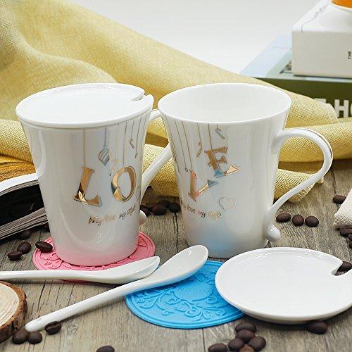Simple fashion lovers Cup a couple cups of spoons with lid mug coffee mug,1314