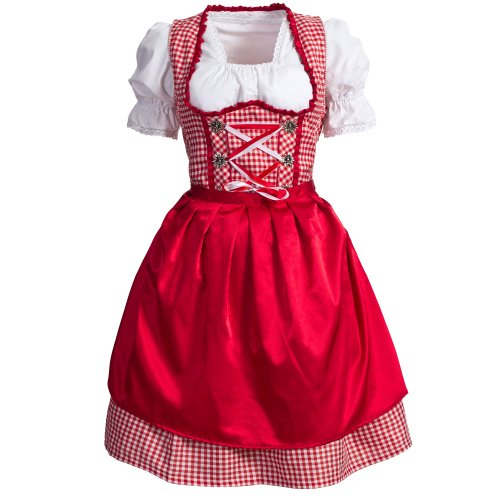 Gaudi-leathers Women's Set-3 Dirndl Pieces Checkered 34 Red/White]()