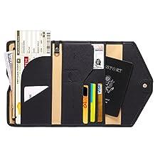 Zoppen Mulit-purpose Rfid Blocking Travel Passport Wallet (Ver.4) Tri-fold Document Organizer Holder, #1 Black