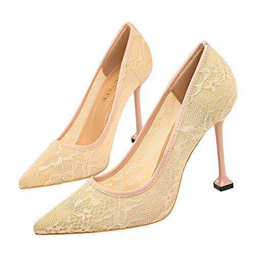 Damen Elegant Absatz Party mit Spitze 10cm Rosa Heels Stiletto High Schuhe Pumps YE gFd4xax