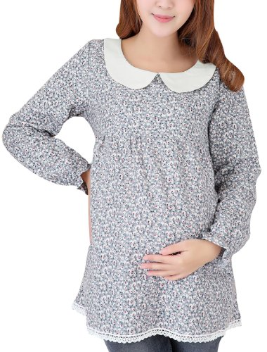 Pregnant Woman Doll Collar Long Sleeve Floral Blouse Multicolor L
