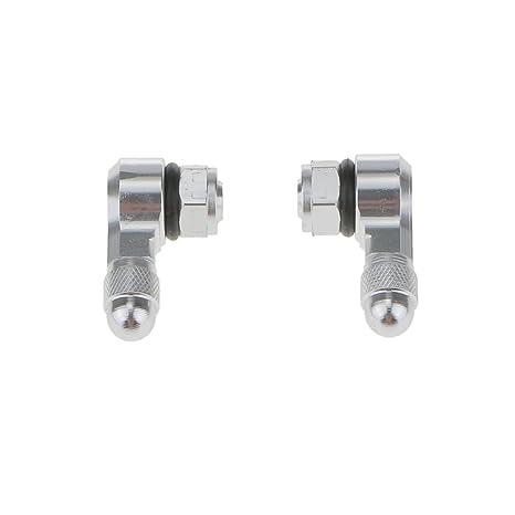 Desconocido Tallos Rueda de Neumático Válvula Hidráulica Tapones de Tuerca Coche Aluminio 90 Grados - Plata