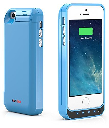PowerBear iPhone 5SE / 5S / 5C / 5 Extended Rechargeable Battery event [4000mah] constructed in USB capability Bank Capacity (Up to 2.5X Extra Battery) - Blue [24 Month extended warranty and screen Protector Included]