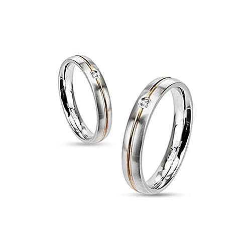Anillo anillo para mujer anillo de compromiso boda Acero Inoxidable Oro Inlay Circonita Cristal