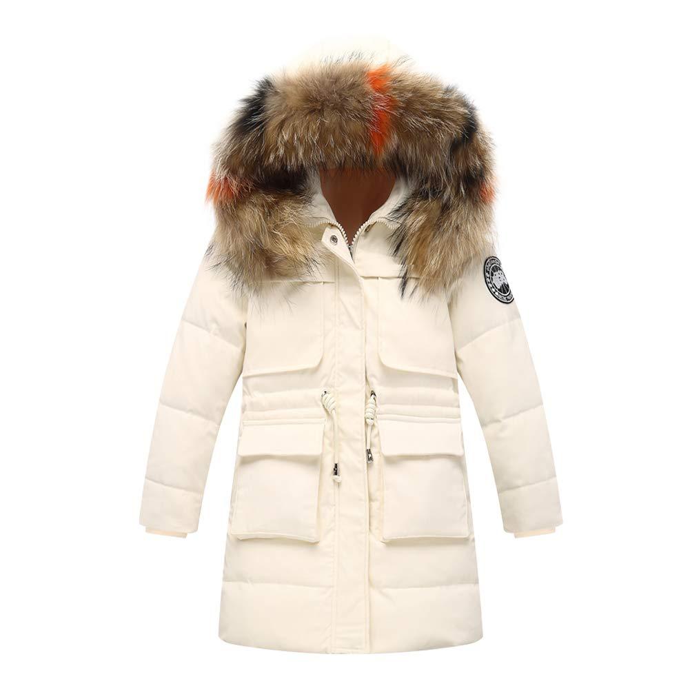 Blanc 13-14  ans    160 SXSHUN Doudoune Enfant Fille Garçon Longue Manteau Hiver Manches Longues VêteHommests d'extérieur Rembourré Veste Trench-Coat